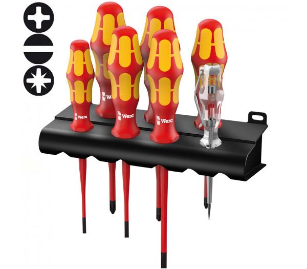 Набор отверток диэлектрический WERA Kraftform Plus с уменьшенным Ø стержня 160 iS/7 Rack , 006480