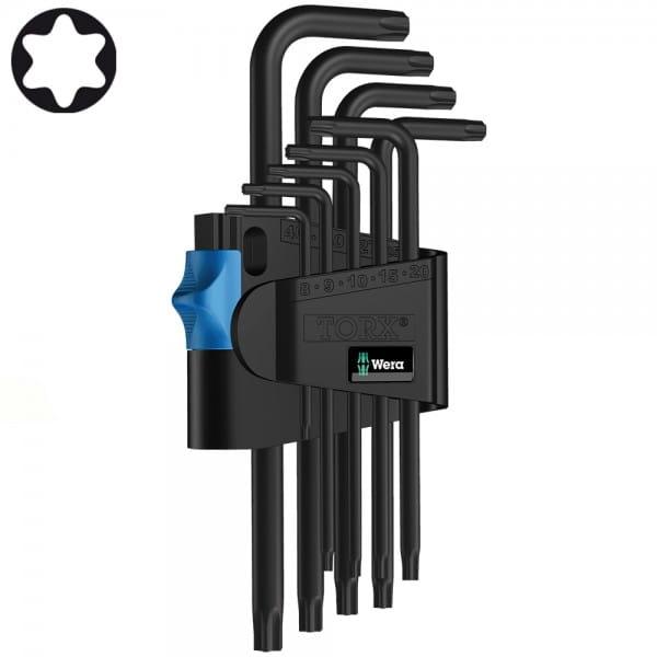 Набор Г-образных ключей с фиксирующей функцией WERA 967 L/9 TORX® HF BlackLaser 024244