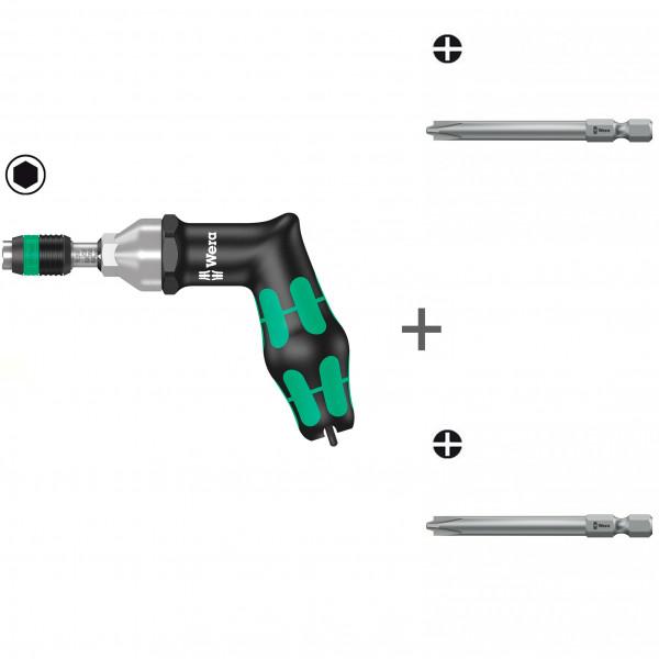 Комплект: Динамометрическая отвертка WERA 7400 Kraftform регулируемая 25,0-55,0 in. lbs., быстрозажимной патрон Rapidaptor, пистолетная ручка 074712 + # 1/70 мм 851/4 PH/S 059720 + # 2/70 мм 851/4 PH/S 059721