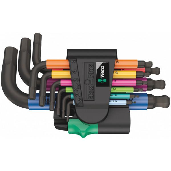Набор Г-образных ключей WERA 950/9 Hex-Plus Multicolour 2, BlackLaser, 133164